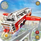 Fliegender Feuerwehrauto-Simulator 2019: Feuerwehrauto-Fahrschule für 911 Notrettungseinsätze und russischer Feuerwehrsimulator
